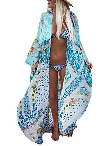 Kaftan Long - Bsubseach Womens Multicolor Print Long Chiffon Beach Blouses Cardigan Kimono Bikini Cover Up Swimwear Kaftan