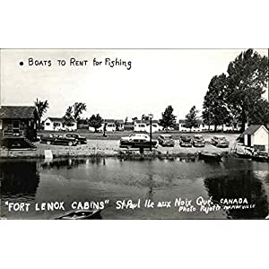 Fishing Boats for Rent and Fort Lenox Cabins St. Paul Ile aux Noix, Quebec Creative Vintage Postcard