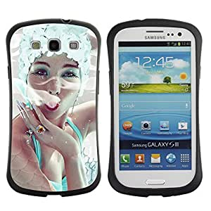 Hybrid Anti-Shock Bumper Case for Samsung Galaxy S3 / Elegant Woman Smoking