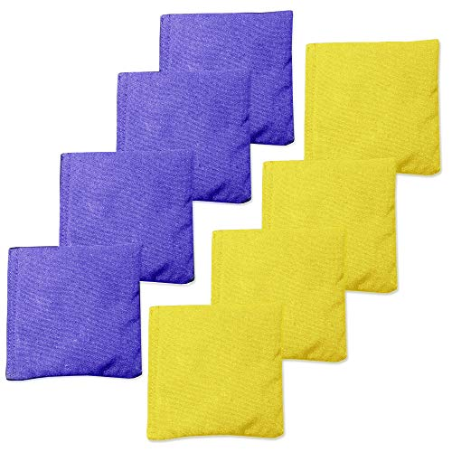 Weather Resistant Cornhole Bean Bags Set of 8 - Regulation Size & Weight - Purple & Yellow