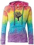 Cheap Yoga Clothing For You Ladies BLACK TREE V-Hoodie, Medium Rainbow Stripe