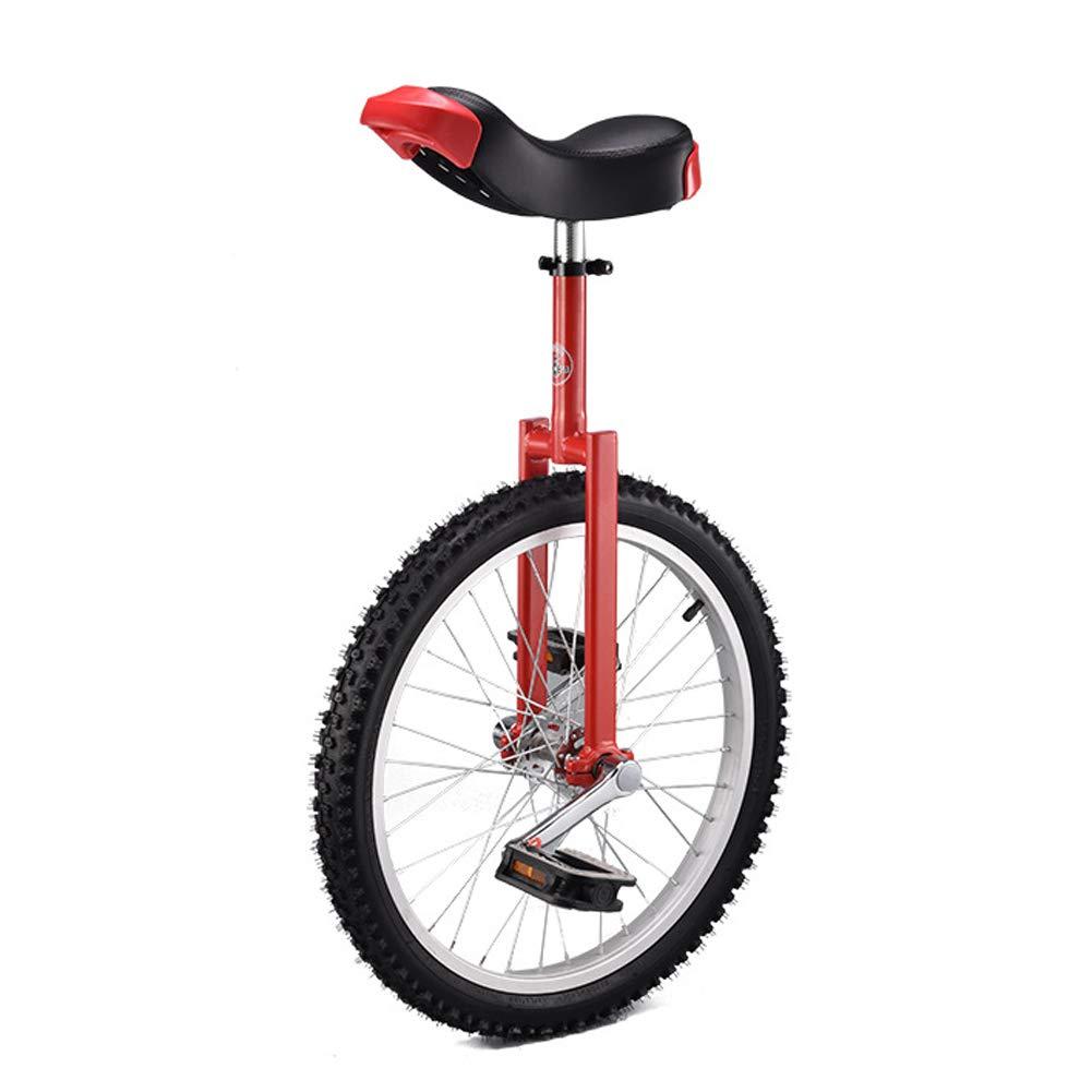 一輪車 16インチ 18インチ 20インチ 組立式 スタンド付き 競技 適正身長115cm~175cm レッド 20インチ