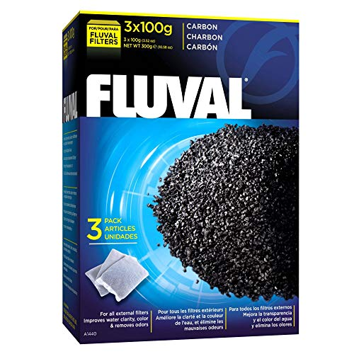Fluval Carbon Nylon Bags Filter Media, 100 Gram, 3 Count, 6 Pack