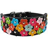 Berry Pet PU Leather Flower Dog Collars for Medium and Large Dogs