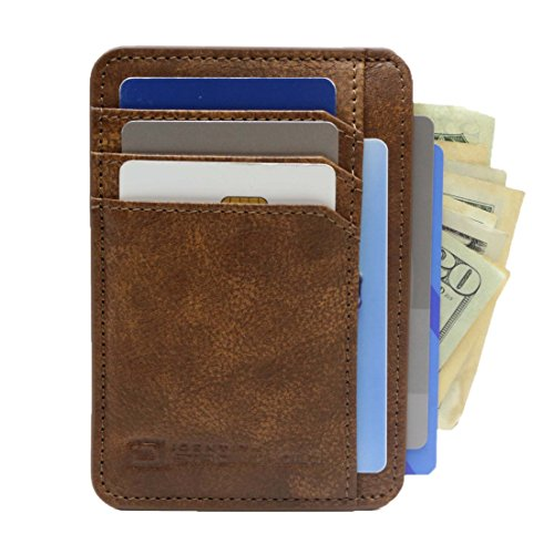 ID Stronghold Front Pocket Minimalist Slim RFID Wallet Genuine Leather Small Size (Rough Rider Brown)