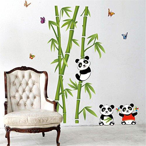 HN Home Decor Mural Vinyl Wall Sticker Removable Cute Panda Eating Bamboo Nursery Room Wall Art Decal Paper
