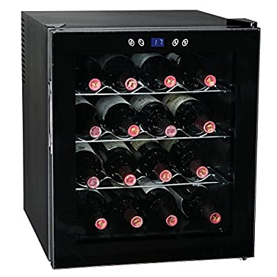 SMETA 16 Bottles 48L Thermoelectric Wine Cellar Beverage Beer Cooler Fridge Champagne Refrigerator with LED Display,Black