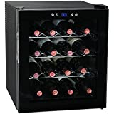 SMETA 16 Bottles 48L Thermoelectric Wine Cellar Beverage Beer Cooler Fridge Champagne Refrigerator with LED Display,Black
