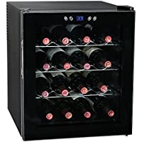 SMETA 16 Bottles Thermoelectric Mini Wine Cellar Beverage Cooler Fridge Champagne Refrigerator with LED Display