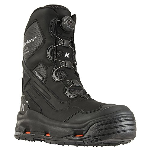 Korkers Men's Polar Vortex 600 Waterproof Snow Boots, Black, Leather, Rubber, 11 (600g Boot)
