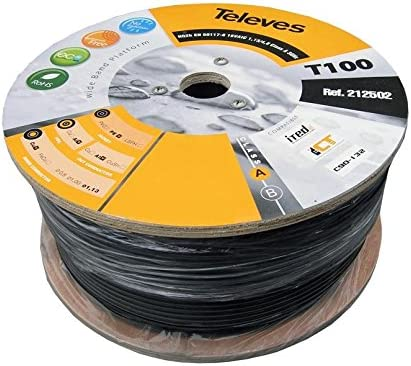 Televes 212501 - Cable coaxial t100 cu/al polietileno clase a 100m negro