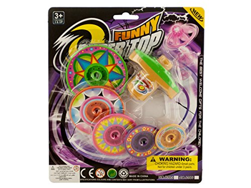 Super Spinning Top Toy with Extra Colorful Discs - 24 Pack