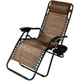 Cheap Sunnydaze Outdoor Zero Gravity Lounge Chair with Pillow and Cup Holder, Folding Patio Lawn Recliner, Dark Brown