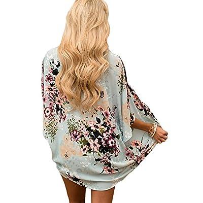 Chunoy Women Casual Floral Short Sleeve Shawl Chiffon Kimono Cover Up Blouse Top at Women's Clothing store