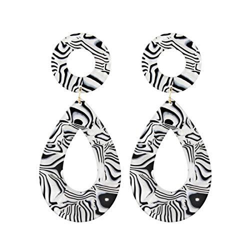 UJLN Mottled Acrylic Earrings for Women Resin Hoop Earrings Tortoise Shell Bohemian Statement Stud Earrings (White)