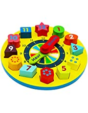 TOWO Wooden Shape Sorting Clock-Learning to Tell the Time Clock- Wooden Teaching Clock with Numbers and Shapes Sorting Puzzle – Educational Toys for 3 years old