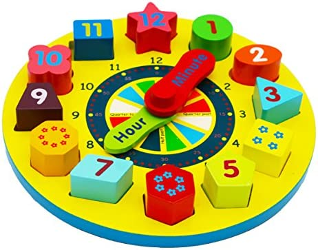 Joqutoys Wooden Shape Sorting Clock Puzzle Teaching Time Number Blocks Educational Toy for Kids