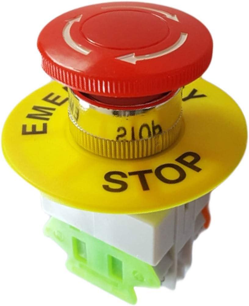 Noyokere Interruptor de Empuje de Parada de Emergencia, Tapa de Seta roja Interruptor de botón de Bloqueo 1NO 1NC DPST