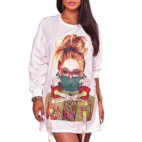 Women Graphic Crewneck Long Sleeve Casual Pullover Sweatshirt T-Shirt Mini Dress Above Knee