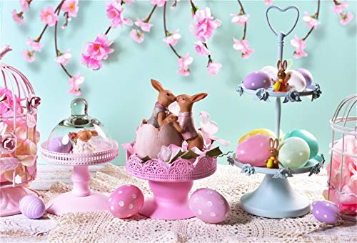 (CSFOTO 8x6ft Background for Dreamy Easter Table Rabbit Photography Backdrop Blooming Flower Easter Eggs Birdcage Bunny Lover Valentine's Day Spring Wedding Photo Studio Props Vinyl)