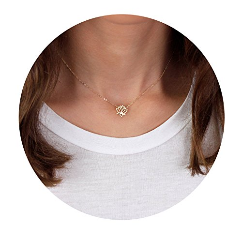 New Beginnings Lotus Pendant Choker Necklace Dainty 14K Gold Plated Lotus Flower Jewelry For Women
