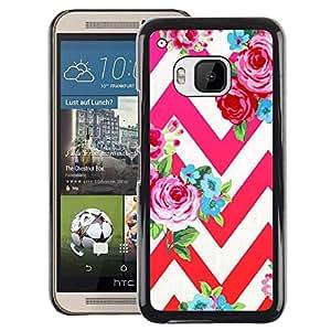 Red-Dwarf Colour Printing Rose Petal Red Pink Floral Pattern Chevron - cáscara Funda Case Caso de plástico para HTC One M9