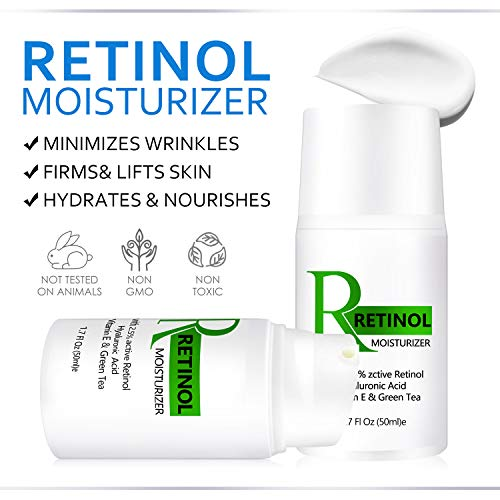 Retinol Cream, Retinol Cream for Face, Retinol Moisturizer with Vitamin E and Hyaluronic Acid, Even Skin Tone, Anti Wrinkle, Retinol Moisturizer Cream-1.7oz