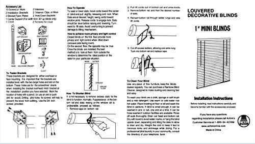 "Achim Home Furnishings Corded Morningstar 1"" Light Filtering Mini Blind, Length 64inch Drop X Width 27inch, White"