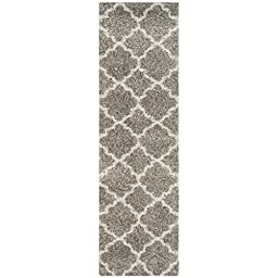 Safavieh Hudson Shag Collection SGH282B Grey and Ivory Runner, 2 feet 3 inches by 8 feet (2\'3\
