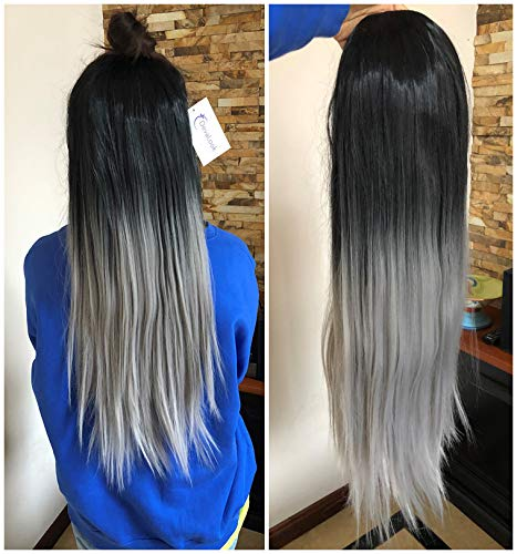 24 Inches Long Half Head Wig Long Straight OMBRE DIP DYE 2 Tones (natural black to grey) DL]()