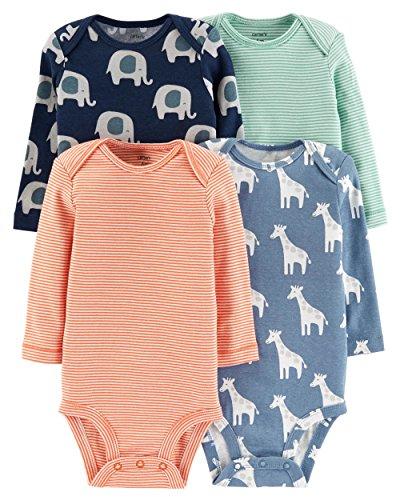 (Carter's Baby Boys 4 Pack Bodysuit Set, Elephant/Giraffe, 24)