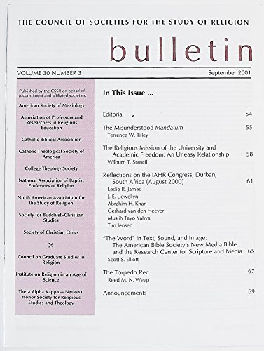 The Council of Societies for the Study of Religion Bulletin, Volume 30 Number 3, September 2001