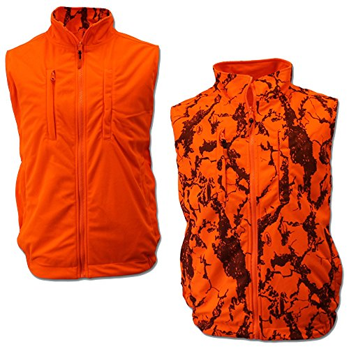 (Natural Gear Reversible Orange Safety Vest with Zipper Closure, Orange Blaze Camo Hunting Vest for Women and Men, 100% Poly Shell Fleece and Liner (XX-Large))