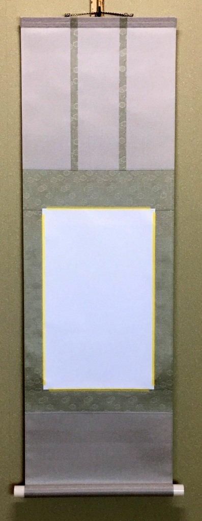 簡単に掛け軸製作!アイロン掛け軸キット 半紙サイズ 三段表装(薄グリーン系) B00WFOVX3M薄グリーン系