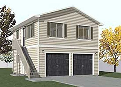 Garage Plans: Two Car, Two Story Garage With Apartment, Outside Stairs - Plan 1152-1 (Story Plans Two Garage)