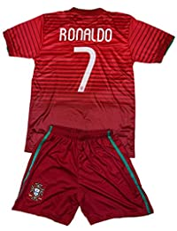 FWC 2014 Portugal Kids Home Jersey & Short #7 RONALDO Youth Sizes (XL (Ages 10-11))
