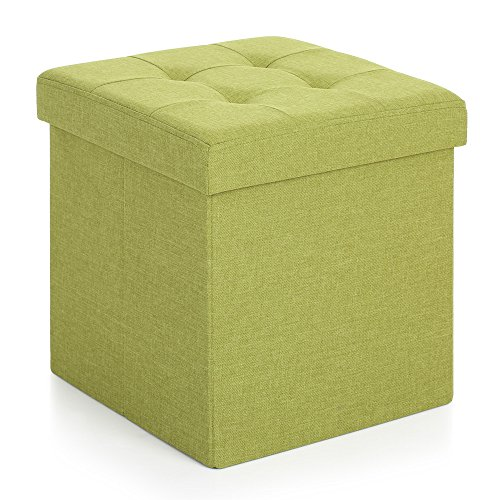 IKayaa Foldable Storage Ottoman with Padded Seat Faux Linen Yellow