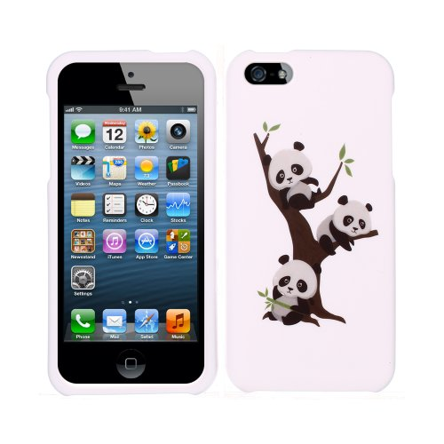 FINCIBO (TM) Protector Cover Case Snap On Hard Plastic Front and Back For Apple iPhone 5 5S - Cute Pandas On The Tree