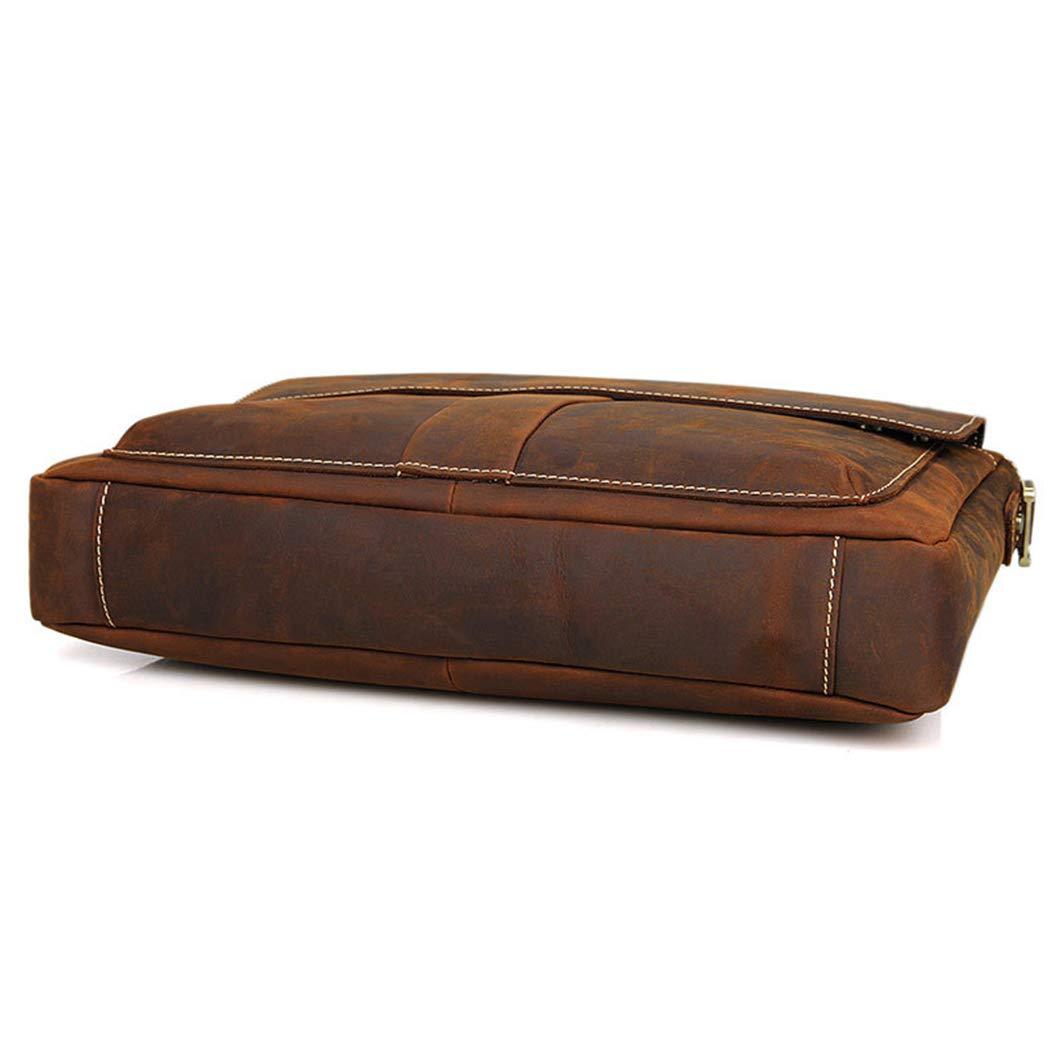 YWY Mens Tote Bag Fashion Retro Leather Briefcase Laptop One Shoulder Messenger Bag,Darkbrown,386.530