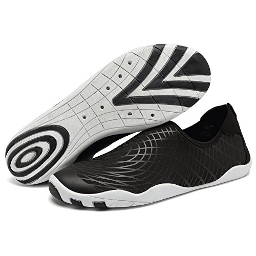 CIOR Men Women's Barefoot Quick-Dry Water Sports Aqua Shoes With 14 Drainage Holes For Swim, Walking, Yoga, Lake, Beach, Garden, Park, Driving,SBVD,w.Black,45 0