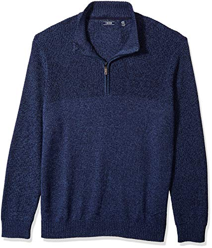 (IZOD Men's Big and Tall Saltwater Long Sleeve 1/4 Zip Mock Neck Solid Sweater, Dark Fed Blue, X-Large)