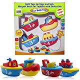 3 Bees & Me Bath Toys for Boys and Girls - Magnet Boats for Toddlers and Older Kids - Fun and Educational 4 Boat Set