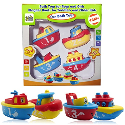 3 Bees & Me Bath Toys for Boys and Girls - Magnet Boat Set for Toddlers & Kids - Fun & (Toys For 3 Yr Old Boy)