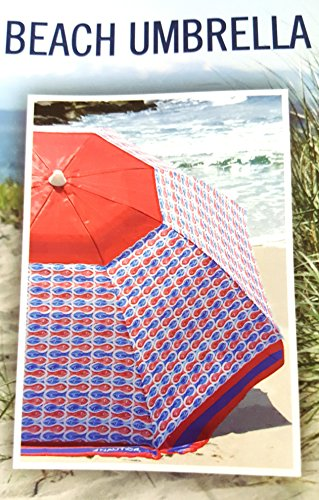 Nautica 7 Foot Beach Umbrella (Red and Blue Fish.)