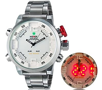 Lucianothai Weide 2309 Unisex Round Analog & Digital 30 m Waterproof LED Sports Watch with Stainless Steel Strap (White) M.