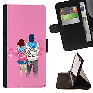 DEVIL CASE - FOR Sony Xperia Z1 Compact D5503 - Love Couple Cute - Style PU Leather Case Wallet Flip Stand Flap Closure Cover