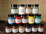 Pigments artist(15 plastic jars 60ml each).oxide of chromium,raw umber dark,bright red,raw umber light,cobalt blue,burnt umber dark,burnt sienna,cobalt green,titanium white,lamp black,cadmium yellow,terre verte ,raw sienna,ven red,yellow ochre.