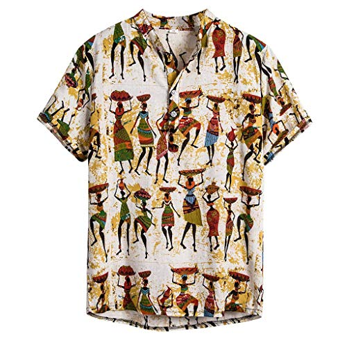 kaifongfu Mens Ethnic Printed Shirt,Stand Collar Colorful Stripe Short Sleeve Loose Pocket Henley Shirt for Summer(Yellow,XXL)