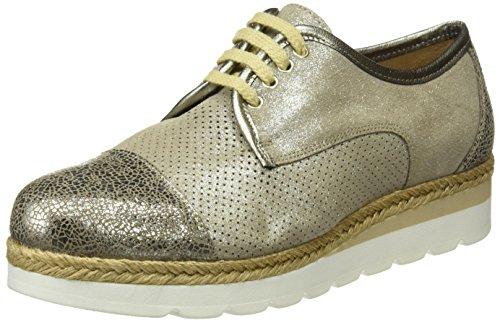 Tienda Calidad 16505, Zapatos de Cordones Brogue para Mujer Gris (Acero)