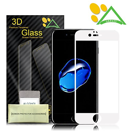 iPhone 7 Plus Screen Protector,Akpati iPhone 7 Plus Full Coverage 3D Curved Tempered Glass Clear Anti-Bubble Film [Full Coverage][Case Friendly][Anti-Scratch] for iPhone 7 Plus (5.5inch) - White